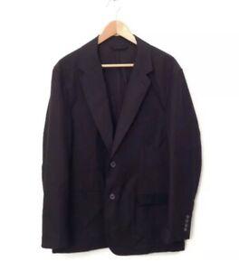 Lanvin Jacket 52 Black Wool Cotton Men's Career Long Sleeve Sports Coat Blazer