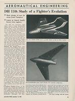 1952 Aviation Article De Havilland DH 110 Jet FIghter British England Design