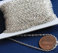 45ft Silver Plated Flat Cable Chain 2mm x 3mm