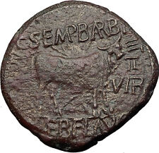 AUGUSTUS Calagurris Spain Authentic BIBLICAL Time Ancient Roman Coin Bull i60715