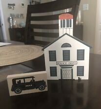 Cat's Meow Village Painted Wood Block Police Department And Car
