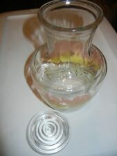 Vintage Anchor Hocking LILY Pattern Glass Juice Pitcher Carafe with Glass LID!!