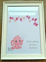 BABY SHOWER GAMES Elephant Guestbook Keepsake Personalised print With Ink pad