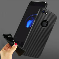 Case For iPhone 8 7 6 Plus X XR XS MAX Soft TPU Silicone Cover Carbon Fibre Skin