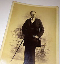 Antique ID'd Victorian Dapper Actor, Glasses, Gloves, Cane & Hat! Cabinet Photo!