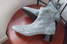 Portée deux fois, ZARA Silver Glitter Chaussettes De Bottes, Taille 5 (38)