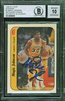 Lakers Magic Johnson Signed 1986 Fleer Sticker #7 Card Auto 10! BAS Slabbed