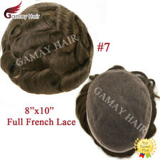 All Lace Mens Toupees Full French Lace Hair System Brown Human Hair Piece Wig #7