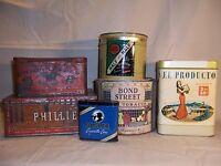 Vintage Tobacco Tins Lot Half & Half Union Leader El Producto Bond Street Old