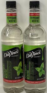 2 DaVinci Gourmet Classic Flavored Syrup Peppermint 25.4 oz each Plastic Bottle