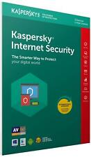 Sealed Kaspersky Internet Security 2019 3 Users Multi device inc Antivirus UK