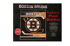 "BOSTON BRUINS NHL HOCKEY LOGO LUXURY PLUSH BLANKET BEDSPREAD 79"" X 94"" INC."