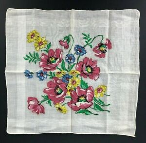 Vintage Handkerchief Hanky Red Poppy Floral Yellow Daisy & Blue Flowers Floral