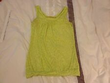 RIVER ISLAND Ladies Top Size 8 - Green Neon Thin Print Beach Summer Party