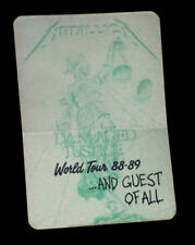 METALLICA Satin Backstage Pass And Guest Of All Damaged Justice World Tour 88-89