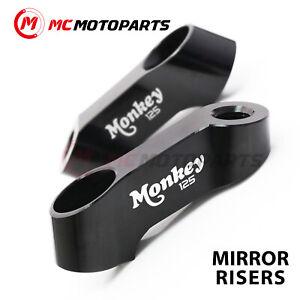 Black MONKEY 125 Logo CNC Mirror Risers 10mm For Honda MONKEY 125 18 19