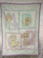 New listing Precious Moments Handmade Baby Crib Blanket Abcd Purple Trim Blue Back Ground