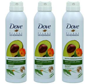 3x Dove Body Lotion Spray Pflegegeheimnisse, Avocadoöl-trockene Haut,190ml NEU