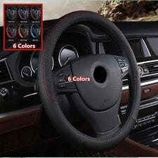 Car Steering Wheel Cover Top PU Leather Anti-Slip 38cm Black Universal