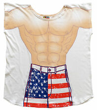 Mens Stars and Stripe  Cover-Up T-Shirt Sexy Flirty Funny bathing suit swimsuit