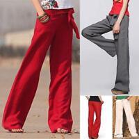 Hot Sale Women's cotton linen pants straight wide leg pants baggy trousers Style
