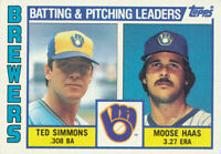 1984 Topps #726 Ted Simmons Moose Haas Milwaukee Brewers Baseball Card