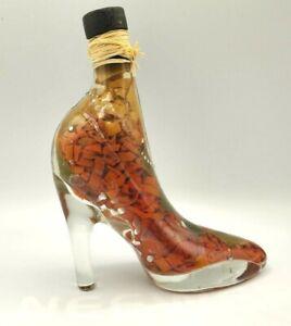 Infused Vinegar Chili Peppers High Heel Shoe Bottle Decorative Glass Decor