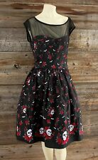 Hell Bunny Pinup Style Dress w Skulls, Bats & Roses  Size XL
