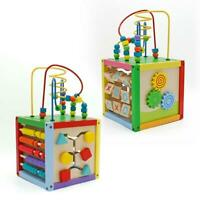 5 In 1 Activity Cube Toy Set Infant Educational Wooden Bead Maze Shape Sorter