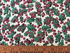 Vintage Quilt Fabric Christmas Holly Berries Cranston Print Gold Metallic  BTHY