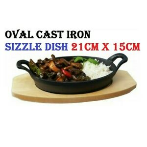 Oval Cast Iron Sizzle Dish Sizzling Food Serving Bowl Wooden Base Bottom Curry