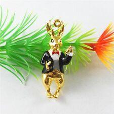 51695 Gold Color Enamel Black Alloy Rabbit Necklace Pendant Jewelry Findings 5x