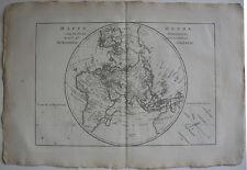 Mappe monde Hemisphäre Oriental Occidental 2 Orig Kupferstichkarten Bonne 1780
