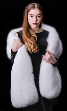 Platinum Saga Furs Arctic Fox Double Sided Real Fur Wrap Scarf Boa Stole 70x10