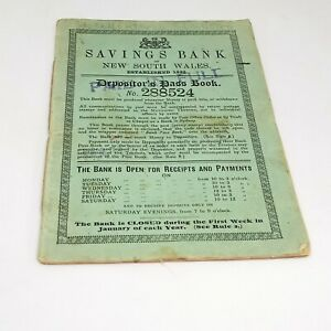HISTORICAL SAVINGS BANK OF NEW SOUT WALES DEPOSITOR'S PASSBOOK 1897-1920