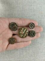 Antique Victorian Lot 5 Metal Picture Buttons