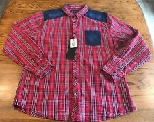 Tranquility Mayhem L/S Button Front Shirt Plaid/Denim Adult XL Extra Large NWT