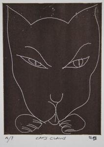 Charles BLACKMAN Cats Claws - Original Signed Etching, Minimal, Black + White