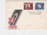 Poland 1961 Man in Rocket + Star Space Slogan Cancel FDC Stamps Cover 25135