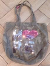 Justice Camouflage Tote Bag HOPE Sequin Book Bag Camo Weekender Shopper Travel