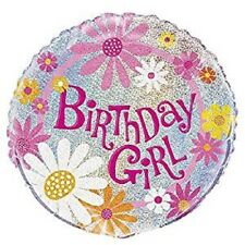 Prismatic Birthday Girl Bright Colour Foil Balloon With Flower - 18 Inch - 45 Cm
