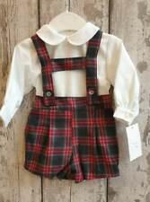 Spanish Style Baby Boy Red and Grey Tartan H-Bar Dungarees Shorts & Shirt Sets