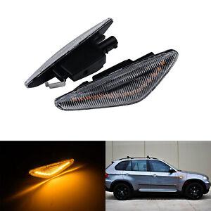 2x Clair Feux Clignotant côté Latéral LED Ambre Pour BMW X5 E70 X3 X6 E71 E72