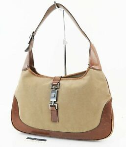 Auth GUCCI Jackie O Brown Canvas and Leather Tote Shoulder Bag Purse #37921
