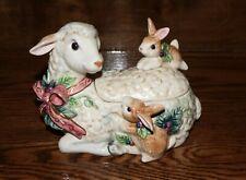 Fitz and Floyd Peaceable Kingdom Lamb with Bunnies Lidded Box