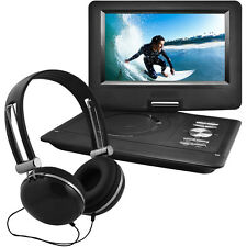 "Ematic 10"" Portable Swivel Screen DVD Player w/ Headphones, Car Mount - Black"