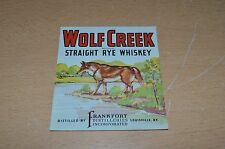 Vintage Wolf Creek s/traight Rye Whiskey bottle Label Frankort Distilleries KY