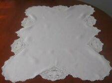 Antique 1930's White Lily Pad Filet Crochet Doily Tablecloth Runner Centrepiece