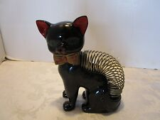 "Vintage Black Cat Coil Letter Mail Holder 7"" tall Red ware Pottery Japan Retro"
