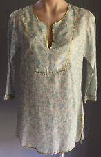 PEACE ANGEL Gorgeous Shades Of Blue & Gold Trim Paisley Print Kaftan Top Size S